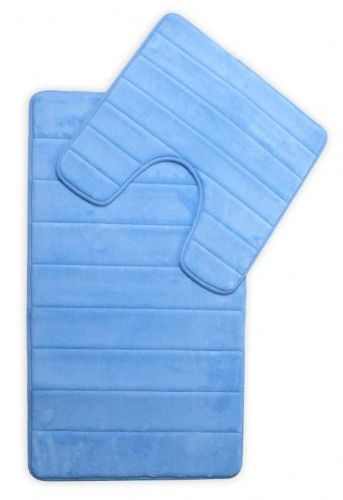 MEMORY FOAM LUXURY SUPER SOFT NON SLIP BATH MAT & PEDESTAL SET BLUE COLOUR